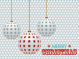 Christmas baubles with stars on white 3d background