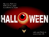 Halloween background with scary eye and sample text