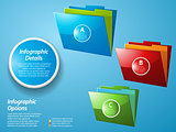 Infographic with glossy folders on blue background
