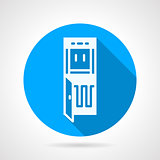 Running water purifier blue round vector icon