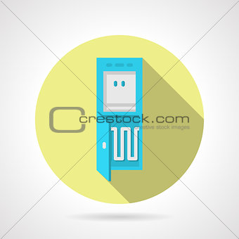 Flat water cooler yellow round vector icon