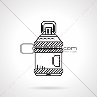 Flat line water bottle vector icon