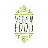 Vegan food - product label on white background.