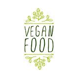 Vegan food - product label on white background.