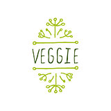 Veggie product label on white background.