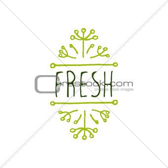 Fresh - product label on white background.