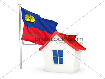 House with flag of liechtenstein
