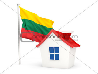 House with flag of lithuania