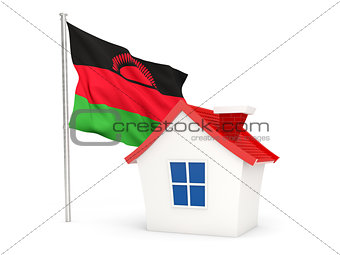 House with flag of malawi
