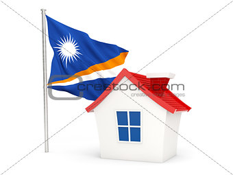 House with flag of marshall islands