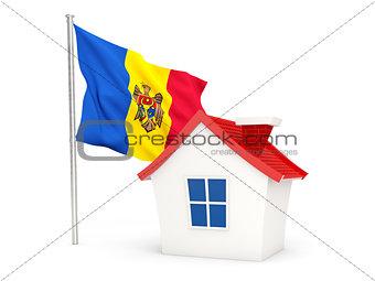 House with flag of moldova