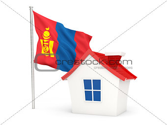 House with flag of mongolia