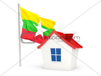 House with flag of myanmar