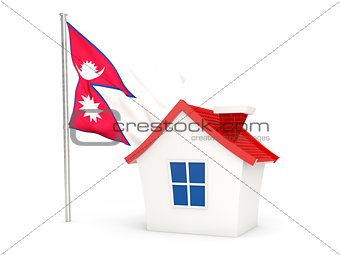 House with flag of nepal