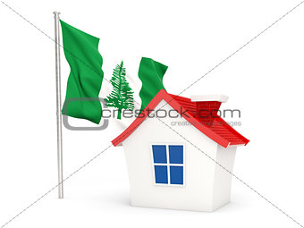 House with flag of norfolk island