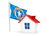 House with flag of northern mariana islands
