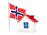 House with flag of norway