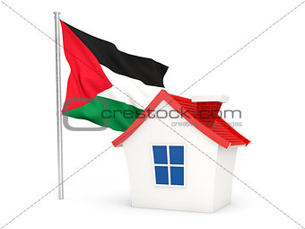 House with flag of palestinian territory