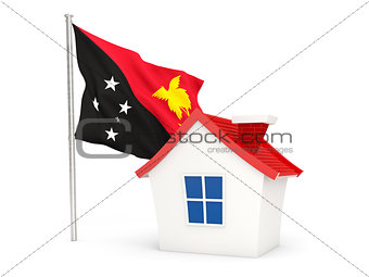 House with flag of papua new guinea