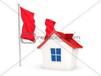 House with flag of peru