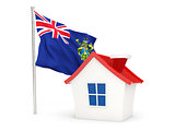 House with flag of pitcairn islands