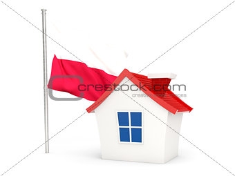 House with flag of poland