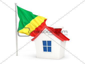 House with flag of republic of the congo