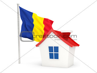 House with flag of romania