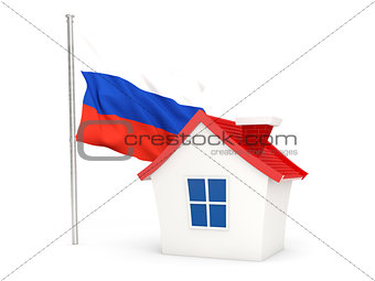House with flag of russia
