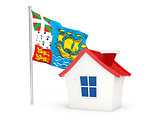 House with flag of saint pierre and miquelon