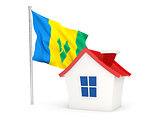 House with flag of saint vincent and the grenadines