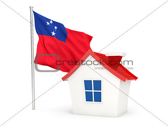 House with flag of samoa
