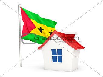 House with flag of sao tome and principe