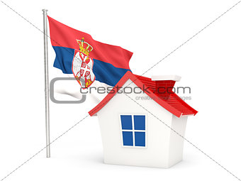 House with flag of serbia