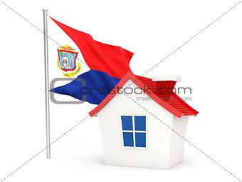 House with flag of sint maarten