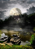Full moon over river