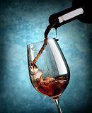 Wine on blue background
