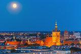 Church of Saint Catherine at night, Gdansk, Poland