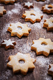 Homemade Christmas cookies in star shape