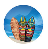Tiki warrior mask design surfboard on ocean beach