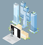 Vector 3d Flat Isometric Office Building