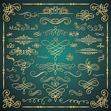 Vector Golden Luxury Glossy Vintage Swirls Collection