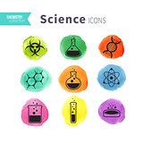 Science icons watercolor blots set