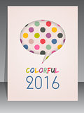 2016 agenda cover design with speech bubble