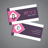 Business card with pink arrow ribbon