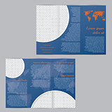 Flyer brochure template design with world map and photo containe