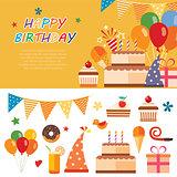 happy birthday flat icon