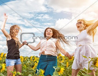 Group of friends having fun outdoors