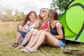 Group of friends enjoying a camping holiday