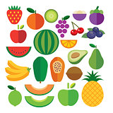 set of fruits flat icon